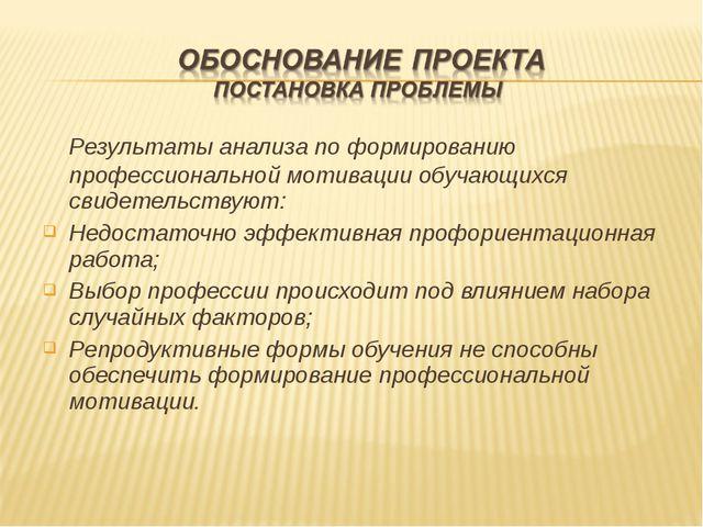 Результаты анализа по формированию профессиональной мотивации обучающихся св...