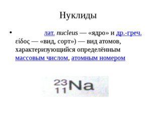 Нуклиды Нукли́д (лат.nucleus— «ядро» и др.-греч. είδος— «вид, сорт»)— вид