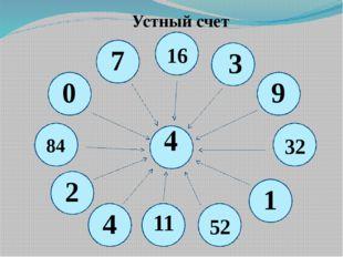 Устный счет 4 16 3 9 32 1 52 11 4 7 0 84 2