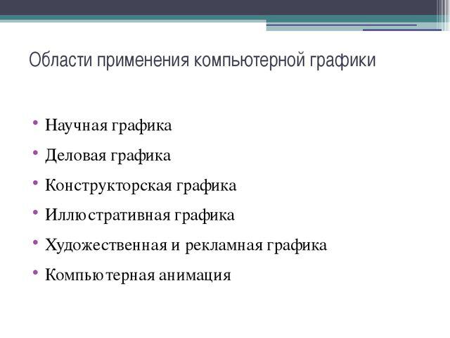 Области применения компьютерной графики Научная графика Деловая графика Конст...