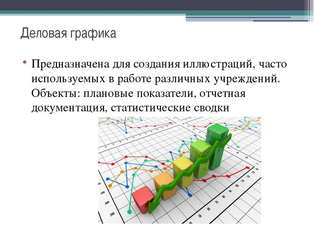 Деловая графика Предназначена для создания иллюстраций, часто используемых в...