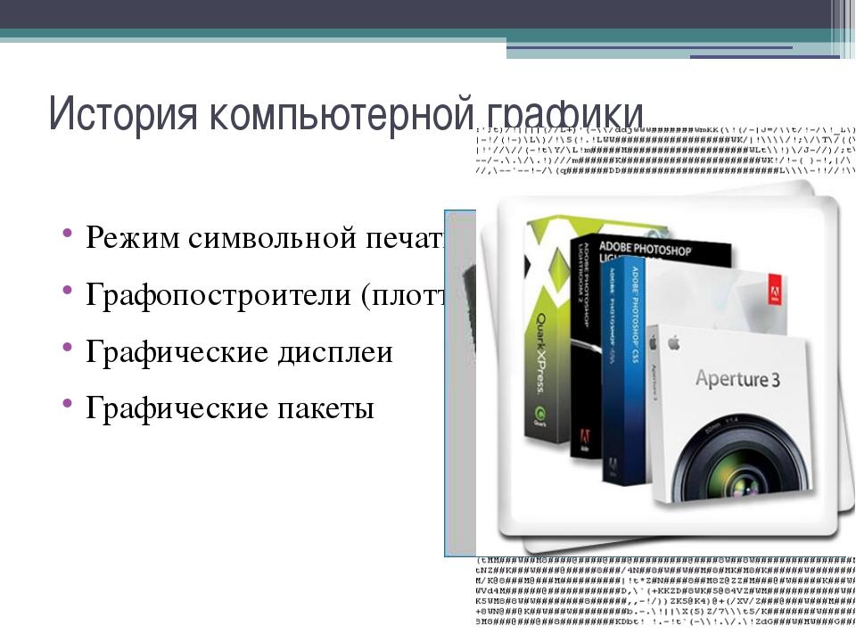 История компьютерной графики Режим символьной печати Графопостроители (плотте...