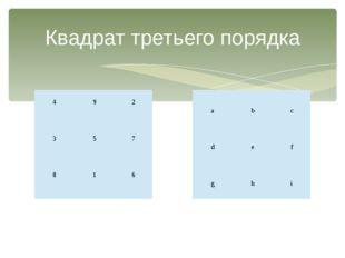 Квадрат третьего порядка  4    9  2  3    5  7  8    1  6