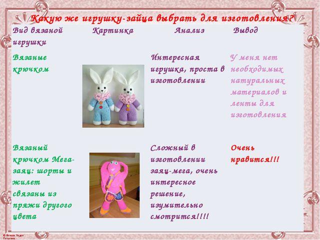 Какую же игрушку-зайца выбрать для изготовления? Вид вязаной игрушки Картинка...