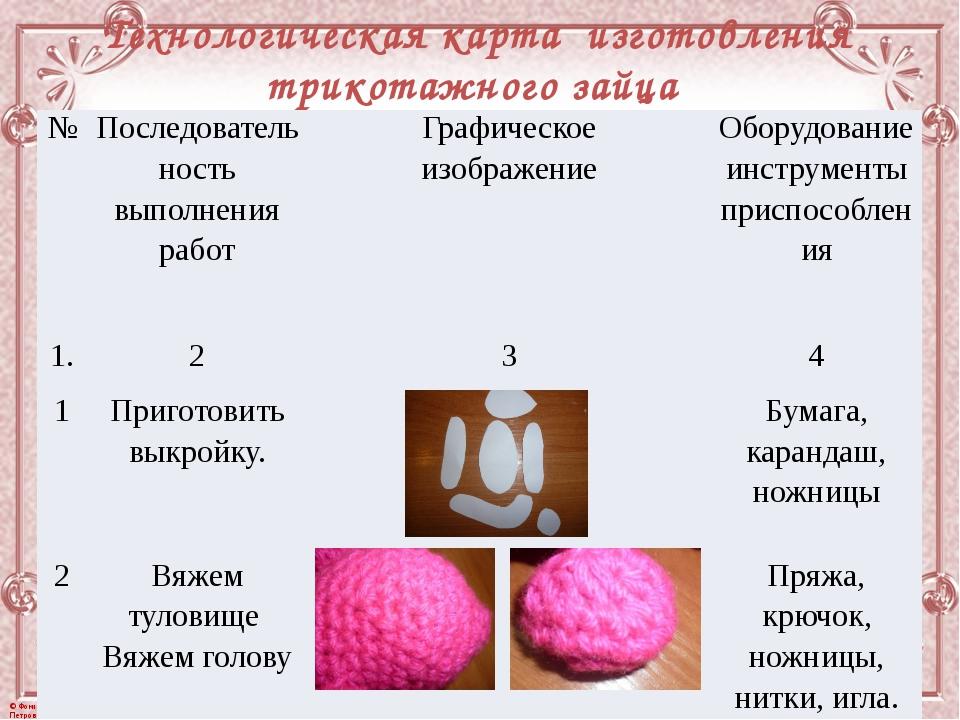 Технологическая карта изготовления трикотажного зайца № Последовательность вы...