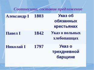 Соотнесите, составив предложение АлександрI 1803 Указ об обязанных крестьяна