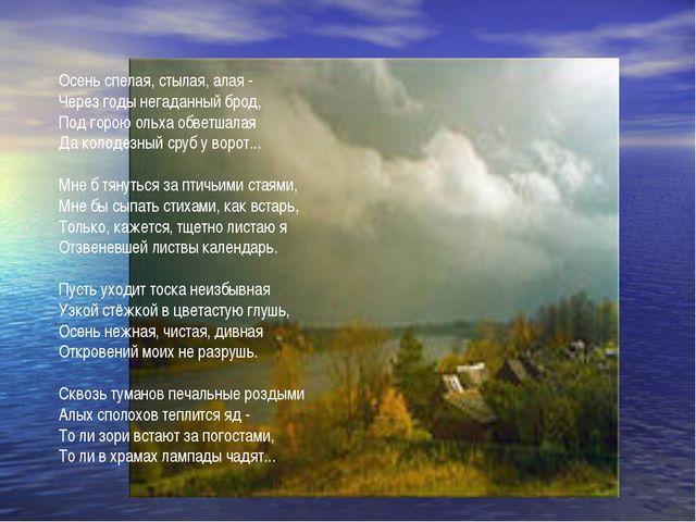 Осень спелая, стылая, алая - Через годы негаданный брод, Под горою ольха обве...