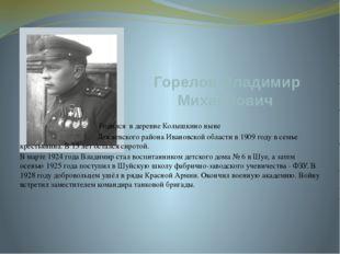 Горелов Владимир Михайлович Родился в деревне Колышкино ныне Лежневского райо