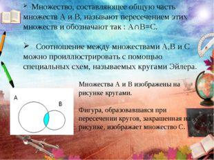 Множество, составляющее общую часть множеств А и В, называют пересечением эт
