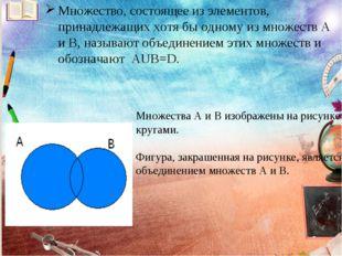 Множество, состоящее из элементов, принадлежащих хотя бы одному из множеств А