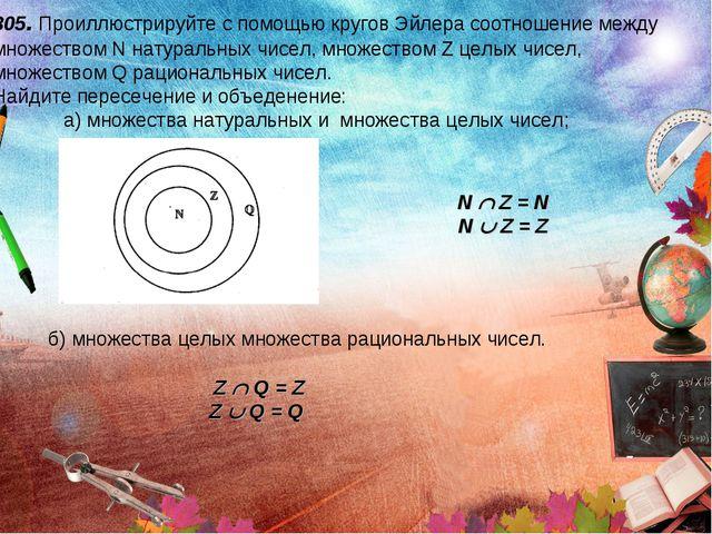 805. Проиллюстрируйте с помощью кругов Эйлера соотношение между множеством N...