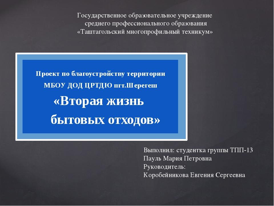 Проект по благоустройству территории МБОУ ДОД ЦРТДЮ пгт.Шерегеш «Вторая жизн...