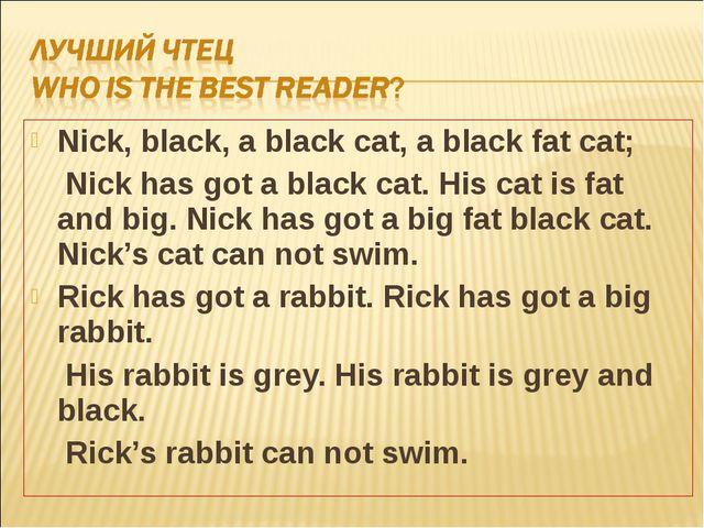 Nick, black, a black cat, a black fat cat; Nick has got a black cat. His cat...