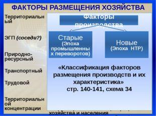 ФАКТОРЫ РАЗМЕЩЕНИЯ ХОЗЯЙСТВА «Классификация факторов размещения производств и