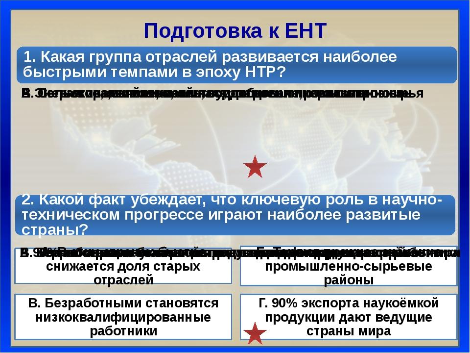 Подготовка к ЕНТ 1. Какая группа отраслей развивается наиболее быстрыми темпа...
