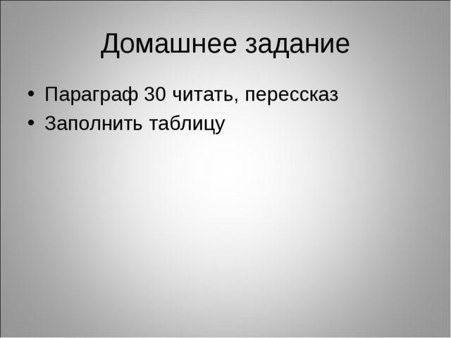Домашнее задание Параграф 30 читать, перессказ Заполнить таблицу