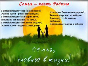 Семья – часть Родины В семейном кругу мы с вами растем Основа основ – родите