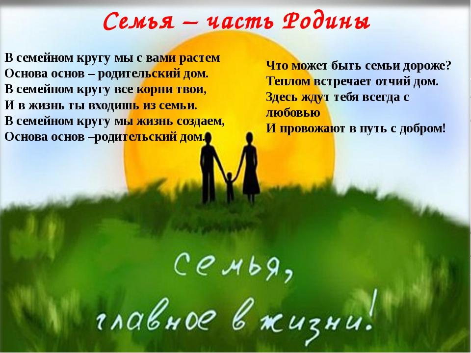 Семья – часть Родины В семейном кругу мы с вами растем Основа основ – родите...