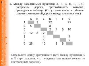 5. Между населёнными пунктами A, B, C, D, E, F, G построены дороги, протяжённ