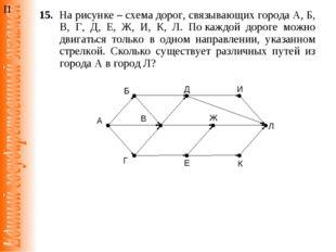 15. На рисунке – схема дорог, связывающих города А, Б, В, Г, Д, Е, Ж, И, К,