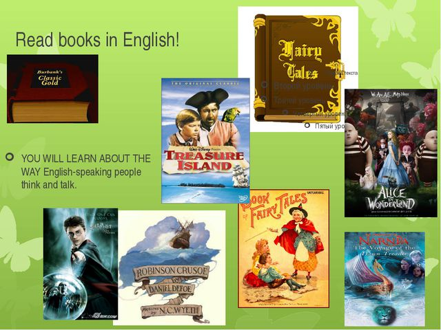 Read books in English! YOU WILL LEARN ABOUT THE WAY English-speaking people t...
