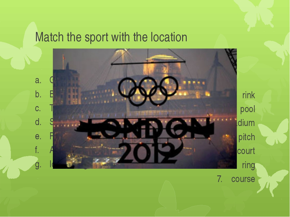 Match the sport with the location Golf Boxing Tennis Swimming Football Athlet...