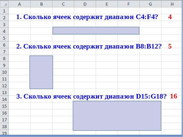 1. Сколько ячеек содержит диапазон C4:F4? 2. Сколько ячеек содержит диапазон...