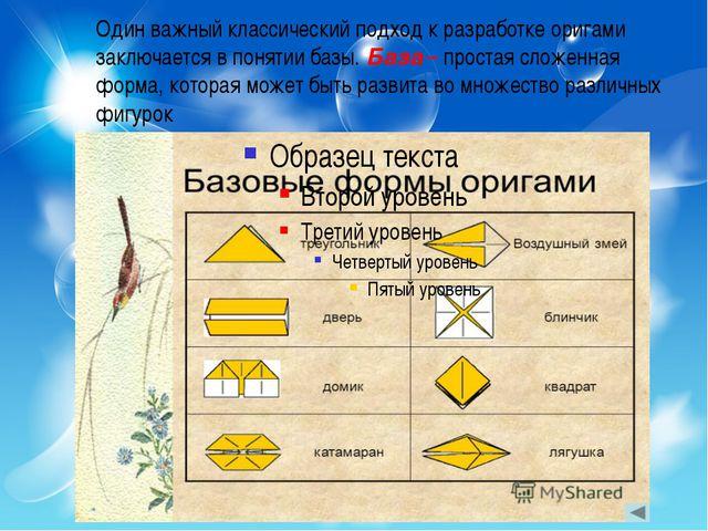 Один важный классический подход к разработке оригами заключается в понятии ба...