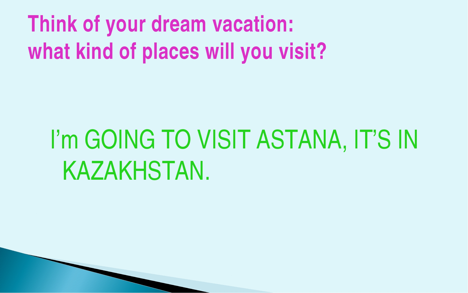 Think of your dream vacation: what kind of places will you visit? I'm GOING T...