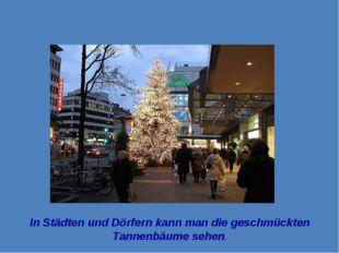 In Städten und Dörfern kann man die geschmückten Tannenbäume sehen.