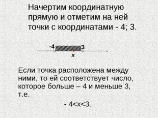 Начертим координатную прямую и отметим на ней точки с координатами - 4; 3. Е