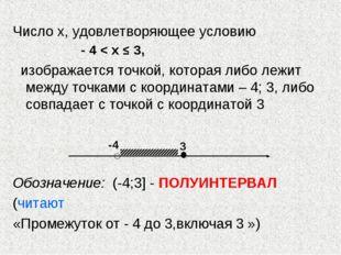 Число х, удовлетворяющее условию - 4 < х ≤ 3, изображается точкой, которая ли