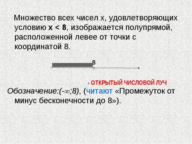 Множество всех чисел х, удовлетворяющих условию х < 8, изображается полупрям...