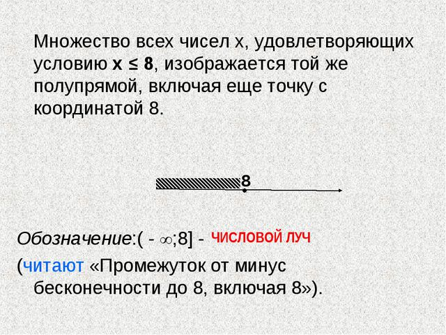 Множество всех чисел х, удовлетворяющих условию х ≤ 8, изображается той же...