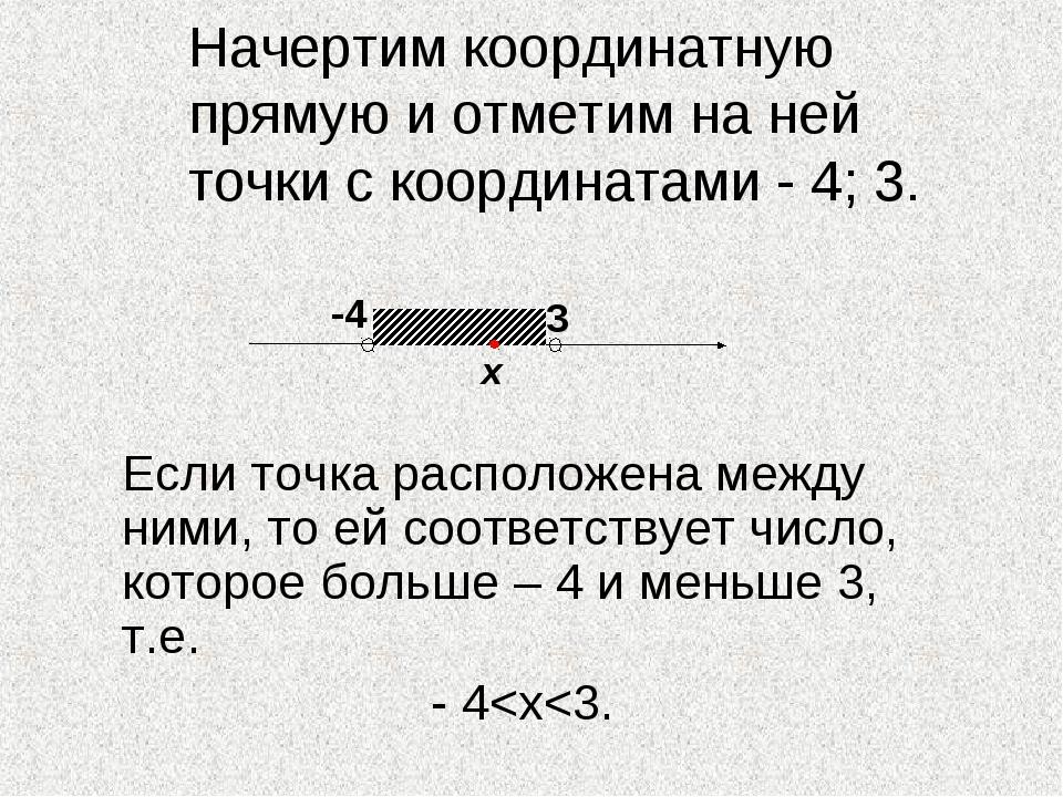Начертим координатную прямую и отметим на ней точки с координатами - 4; 3. Е...