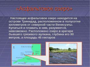 «Асфальтовое озеро» Настоящее асфальтовое озеро находится на острове Тринидад