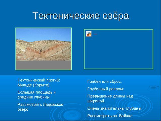 Тектонические озёра Тектонический прогиб: Мульде (Корыто) Большая площадь и с...