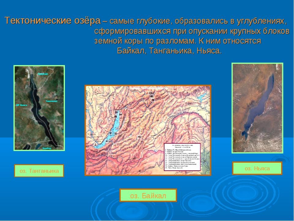 Тектонические озёра – самые глубокие, образовались в углублениях, сформировав...
