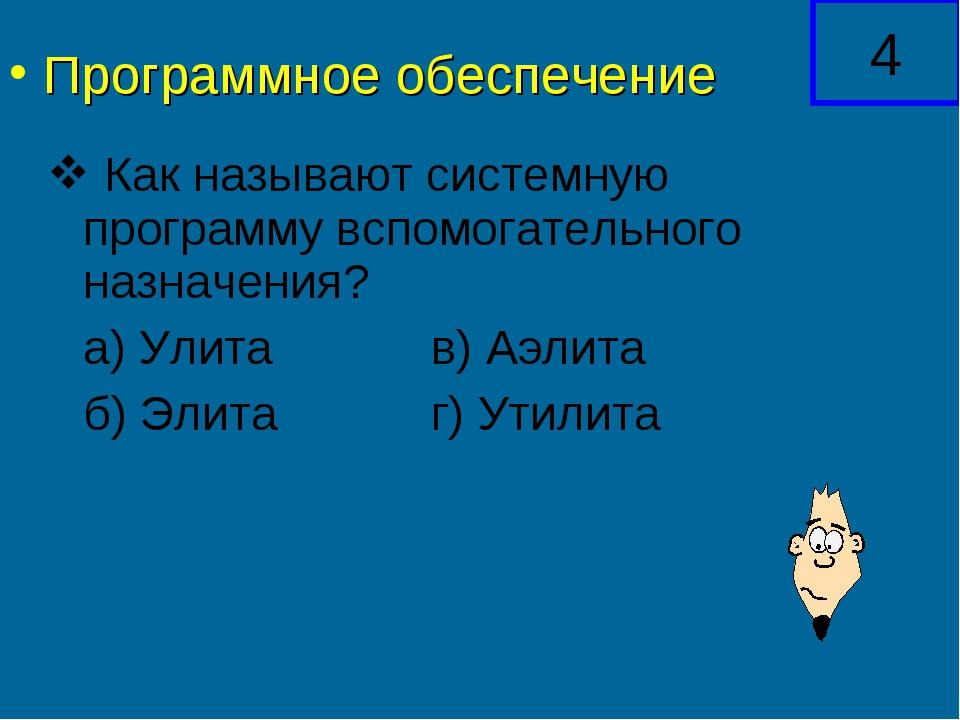 Как называют системную программу вспомогательного назначения? а) Улитав)...