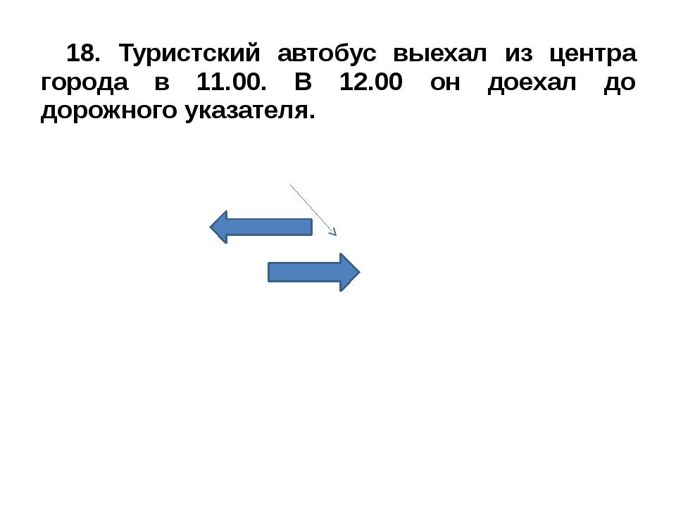 18. Туристский автобус выехал из центра города в 11.00. В 12.00 он доехал до...
