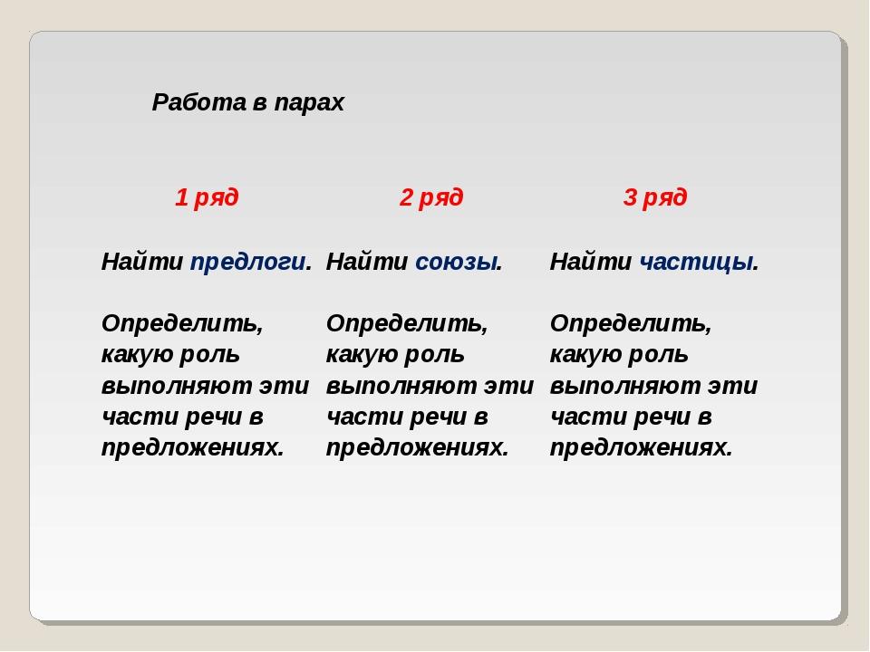 Работа в парах 1 ряд2 ряд3 ряд Найти предлоги. Определить, какую роль выпол...