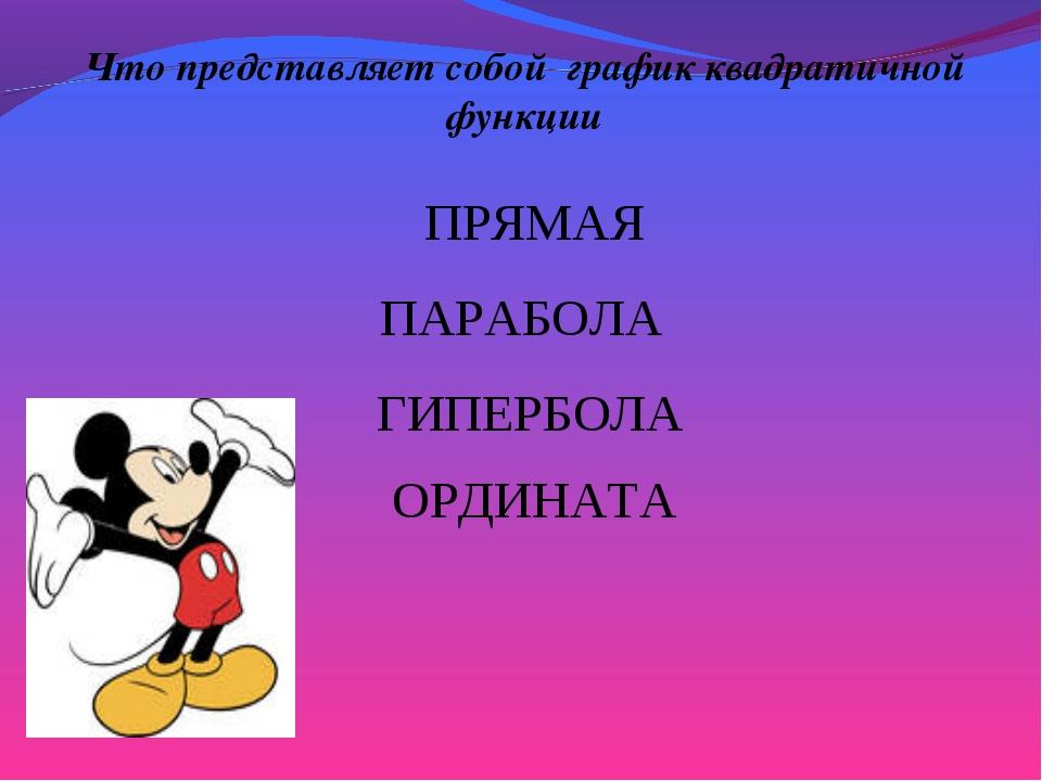 Что представляет собой график квадратичной функции ПАРАБОЛА ГИПЕРБОЛА ПРЯМАЯ...