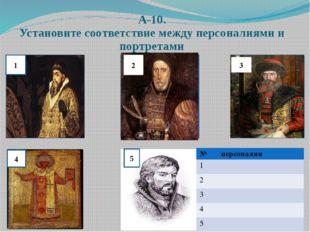 А-10. Установите соответствие между персоналиями и портретами 2 3 1 4 5 № пер