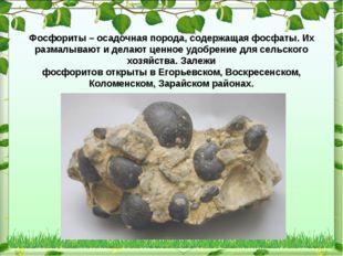 Фосфориты – осадочная порода, содержащая фосфаты. Их размалывают и делают це