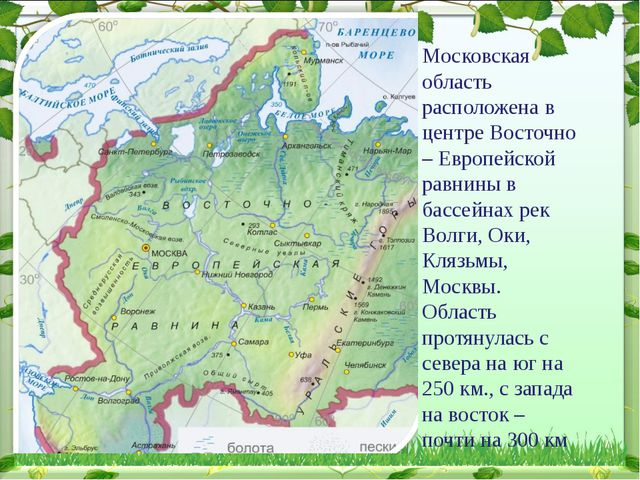 Московская область расположена в центре Восточно – Европейской равнины в басс...