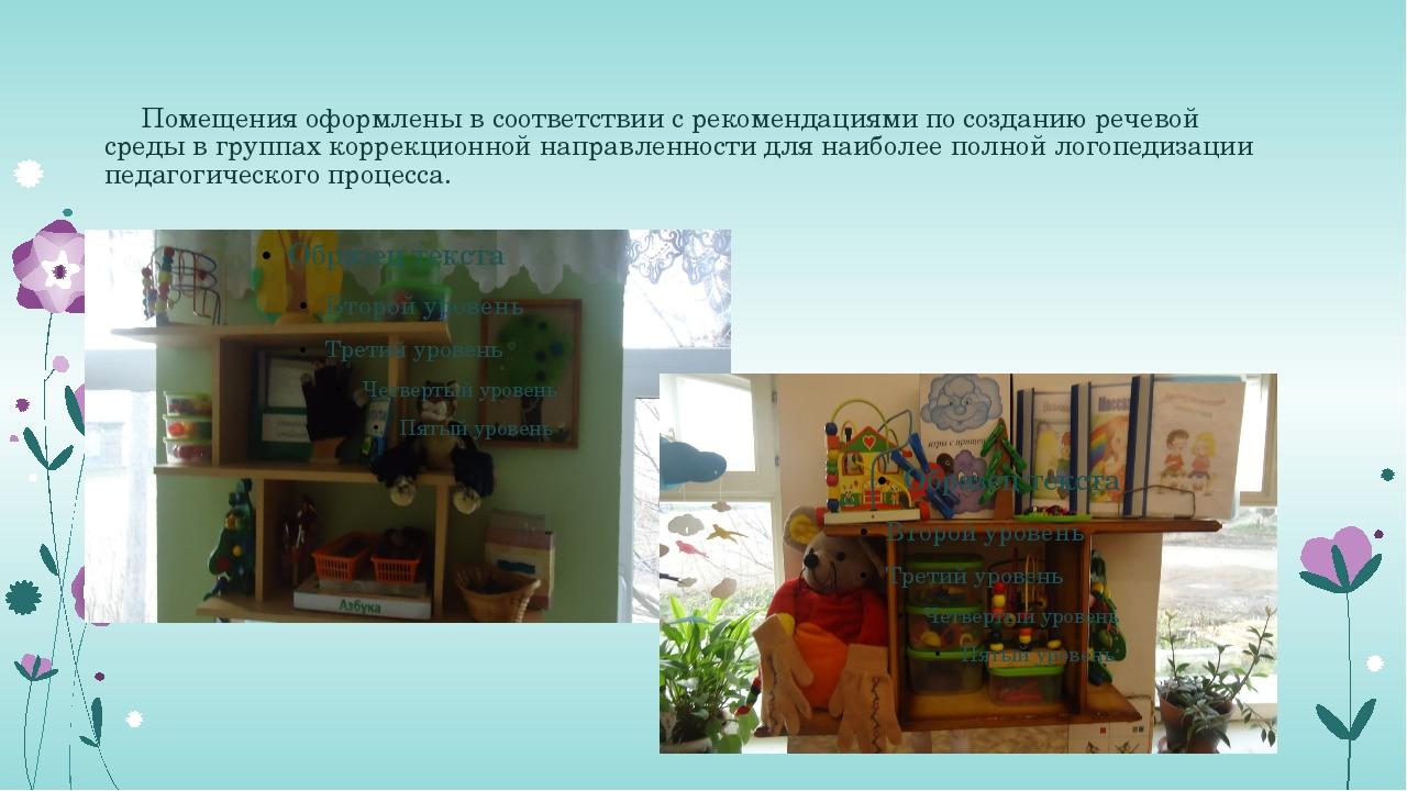 Помещения оформлены в соответствии с рекомендациями по созданию речевой сред...