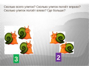 Сколько всего улиток? Сколько улиток ползёт вправо? Сколько улиток ползёт вле