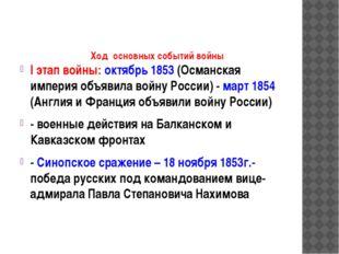 Ход основных событий войны I этап войны: октябрь 1853 (Османская империя объ