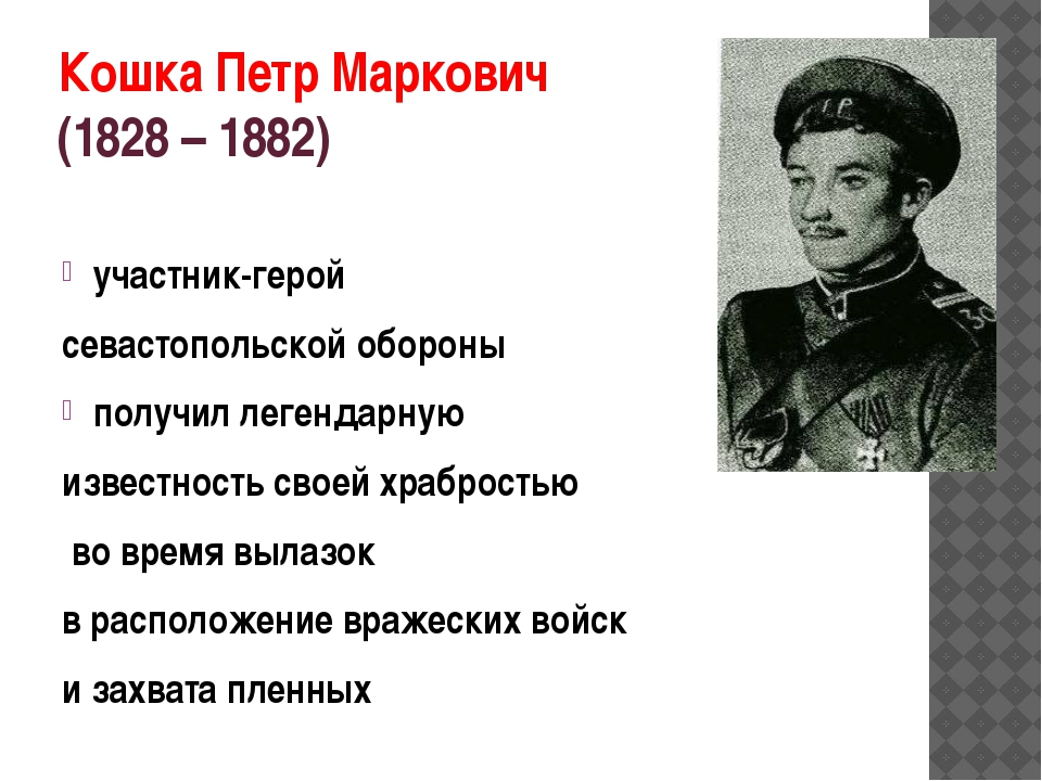 КошкаПетр Маркович (1828 – 1882) участник-герой севастопольской обороны пол...