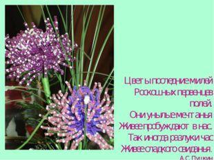 Цветы последние милей Роскошных первенцев полей. Они унылые мечтанья Живее пр